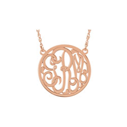 Girls Medium 25mm Round Script Monogram Pendant Necklace - 14K Rose Gold - Chain included - Special Order/