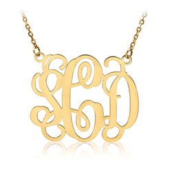 Beautiful 36mm Monogram Pendant Necklace - 14K Yellow Gold - 1.5mm Cable Chain included - Special Order - Best Seller/