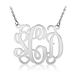 Beautiful 36mm Monogram Pendant Necklace - 14K White Gold - 1.5mm Cable Chain included - Special Order - Best Seller/
