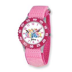 Girls Disney Princess Time Teacher Watch - Featuring Jasmine, Sleeping Beauty, Belle, Cinderella, Ariel, and Snow White - Adjustable pink Velcro watch band - Fits toddler to preteen girls/