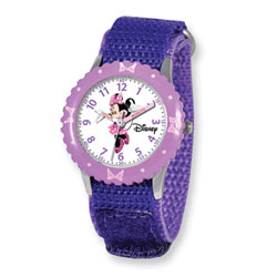 Girls Disney Minnie Mouse Time Teacher Watch - Adjustable purple Velcro watch band - Fits toddler to preteen girls/