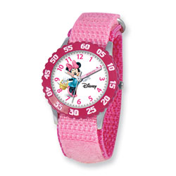Girls Disney Minnie Mouse Time Teacher Watch - Adjustable pink Velcro watch band - Fits toddler to preteen girls/