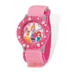 Girls Disney Princess Time Teacher Watch - Featuring Belle, Rapunzel, and Ariel - Adjustable pink Velcro watch band - Fits toddler to preteen girls/