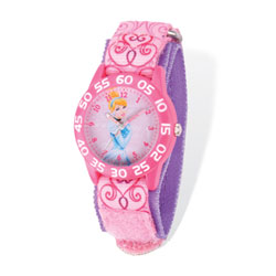 Girls Disney Princess Time Teacher Watch - Featuring Cinderella - Adjustable pink Velcro watch band - Fits toddler to preteen girls/