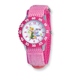 Girls Disney Tinker Bell Time Teacher Watch - Adjustable pink Velcro watch band - Fits toddler to preteen girls/