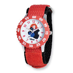 Girls Disney Princess Time Teacher Watch - Featuring Brave's Adventurous Princess Merida - Adjustable red Velcro watch band - Fits toddler to preteen girls/