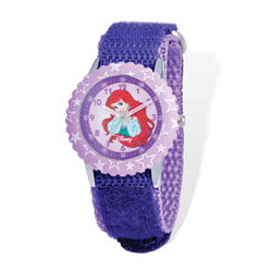 Girls Disney Princess Time Teacher Watch - Featuring The Little Mermaid's Independent-Minded Princess Ariel - Adjustable purple Velcro watch band - Fits toddler to preteen girls/