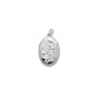 Rembrandt Sterling Silver Our Lady of Lourdes Charm – Engravable on back - Add to a bracelet or necklace