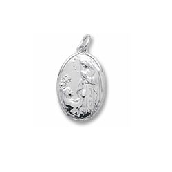 Rembrandt Sterling Silver Our Lady of Lourdes Charm – Engravable on back - Add to a bracelet or necklace/