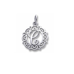 Rembrandt Sterling Silver Whimsical Round Initial C Charm – Add to a bracelet or necklace/