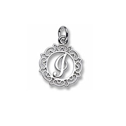 Rembrandt Sterling Silver Whimsical Round Initial I Charm – Add to a bracelet or necklace/
