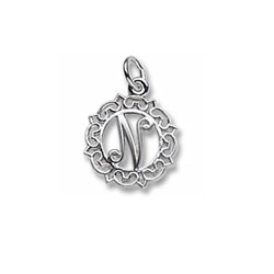 Rembrandt Sterling Silver Whimsical Round Initial N Charm – Add to a bracelet or necklace/
