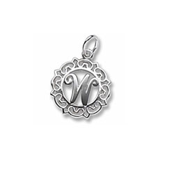 Rembrandt Sterling Silver Whimsical Round Initial W Charm – Add to a bracelet or necklace/