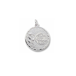 A Date to Remember - Large Round Sterling Silver Rembrandt Charm – Engravable on back - Add to a bracelet or necklace /