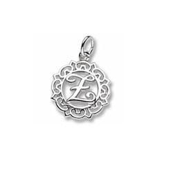 Rembrandt Sterling Silver Whimsical Round Initial Z Charm – Add to a bracelet or necklace/
