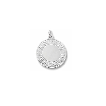 Rembrandt Sterling Silver A Day To Remember Charm – Engravable on front and back - Add to a bracelet or necklace