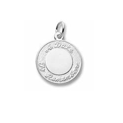 Rembrandt Sterling Silver A Date to Remember Charm – Engravable on front and back - Add to a bracelet or necklace/