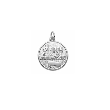 Rembrandt Sterling Silver Anniversary Charm – Engravable on front and back - Add to a bracelet or necklace