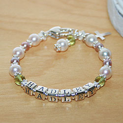 Hadley™ by My First Pearls® Baby Bracelet – Grow-With-Me® designer original freshwater cultured pearl name baby bracelet – Personalize with gemstones & charms/