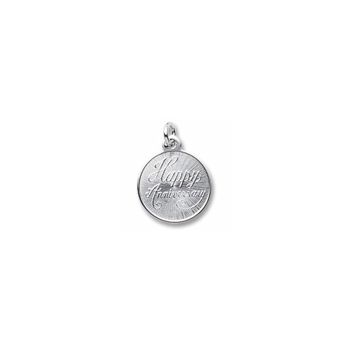 Happy Anniversary - Small Round Sterling Silver Rembrandt Charm – Engravable on back - Add to a bracelet or necklace