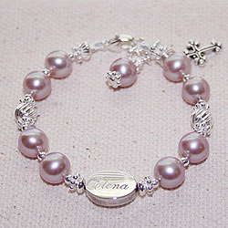 Amelia Grace - Personalized Baby Bracelet - Cultured Pearl/