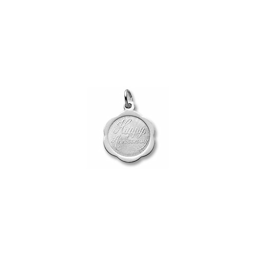 Happy Anniversary - Small Ornate Round Sterling Silver Rembrandt Charm – Engravable on back - Add to a bracelet or necklace