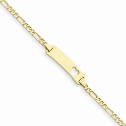 Adorable Heart - 14K Yellow Gold Personalized Teen, Adult ID Bracelet - Figaro Link - Size 7