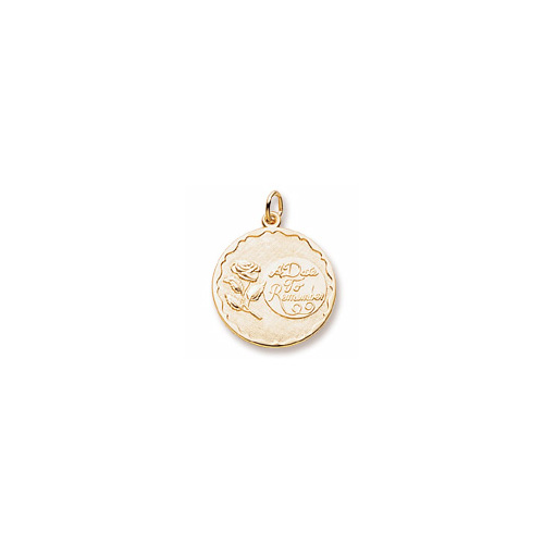 A Date to Remember - Large Round 14K Yellow Gold Rembrandt Charm – Engravable on back - Add to a bracelet or necklace