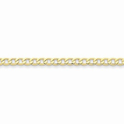 10K Yellow Gold 4.3mm Light Weight Curb Link Necklace Chain for Boys - 20