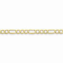 10K Yellow Gold 4.75mm Light Weight Figaro Necklace Chain - 16