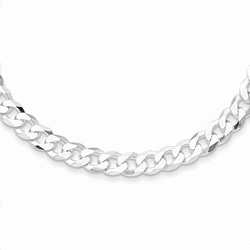 Silver 4.5mm Beveled Curb Link Necklace Chain - 18