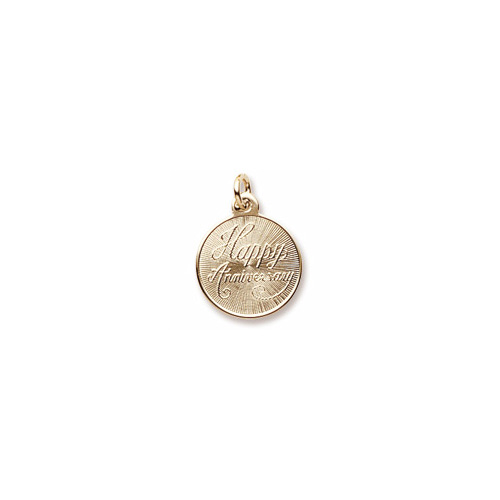 Happy Anniversary - Small Round Charm 10K Yellow Gold – Engravable on Back - Add to a bracelet or necklace