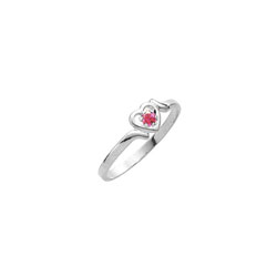 Sweetheart Birthstone Ring - July Birthstone - Genuine Ruby - 14K White Gold - Size 4½ Child Ring/