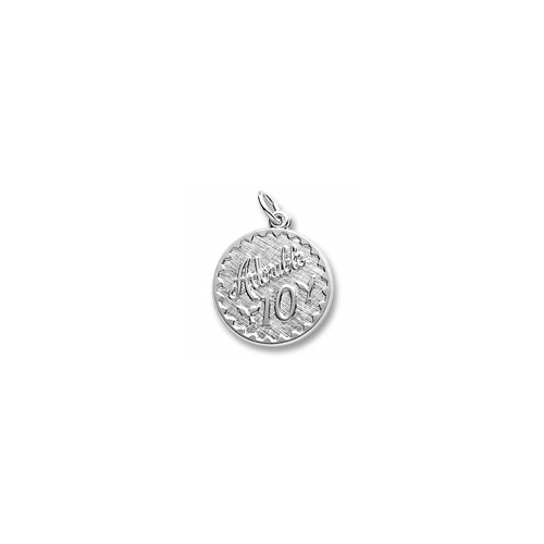 Adorable 10 - Birthday Girl - Large Round Sterling Silver Rembrandt Charm – Engravable on back - Add to a bracelet or necklace