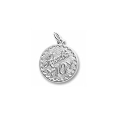 Adorable 10 - Birthday Girl - Large Round Sterling Silver Rembrandt Charm – Engravable on back - Add to a bracelet or necklace /