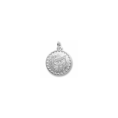 Happy 11 - Birthday Girl - Large Round Sterling Silver Rembrandt Charm – Engravable on back - Add to a bracelet or necklace