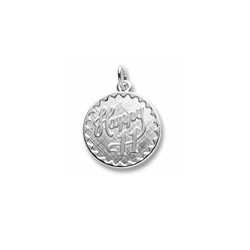Happy 11 - Birthday Girl - Large Round Sterling Silver Rembrandt Charm – Engravable on back - Add to a bracelet or necklace /