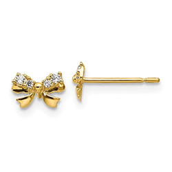 Adorable Tiny Bow CZ Gold Earrings for Little Girls - 14K Yellow Gold - Push-Back Posts - BEST SELLER/