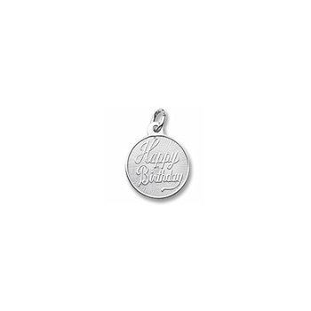 Happy Birthday - Small Round Sterling Silver Rembrandt Charm – Engravable on back - Add to a bracelet or necklace