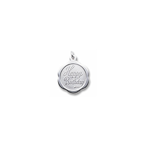 Happy Birthday - Small Ornate Round Sterling Silver Rembrandt Charm – Engravable on back - Add to a bracelet or necklace