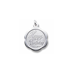 Happy Birthday - Small Ornate Round Sterling Silver Rembrandt Charm – Engravable on back - Add to a bracelet or necklace /