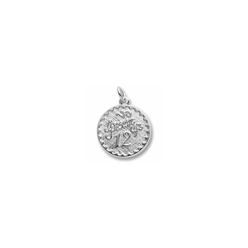 Grown Up 12 - Birthday Girl - Large Round Sterling Silver Rembrandt Charm – Engravable on back - Add to a bracelet or necklace