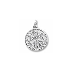 Lucky 13 - Birthday Girl - Large Round Sterling Silver Rembrandt Charm – Engravable on back - Add to a bracelet or necklace /
