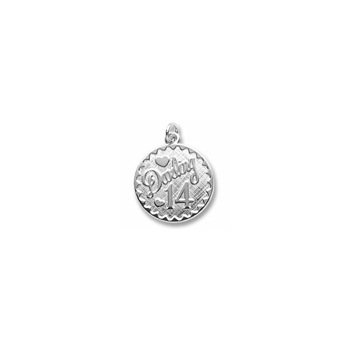 Darling 14 - Birthday Girl - Large Round Sterling Silver Rembrandt Charm – Engravable on back - Add to a bracelet or necklace