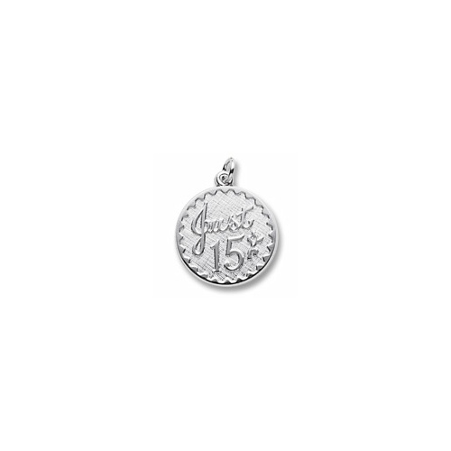 Just 15 - Birthday Girl - Large Round Sterling Silver Rembrandt Charm – Engravable on back - Add to a bracelet or necklace