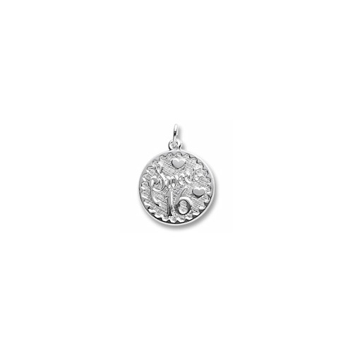 Sweet 16 - Birthday Girl - Large Round Sterling Silver Rembrandt Charm – Engravable on back - Add to a bracelet or necklace