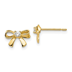 Adorable CZ Gold Bow Earrings for Little Girls - 14K Yellow Gold  - Push-Back Posts/