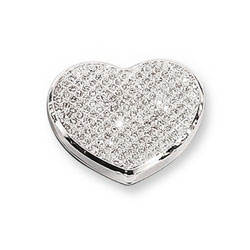 Lily - White Glitter Heart Silver-Plated Keepsake Backpack or Purse Mirror Just for Her - Engravable on back - BEST SELLER/