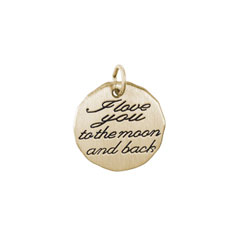 Rembrandt 10K Yellow Gold I Love You to the Moon and Back Charm – Engravable on back - Add to a bracelet or necklace /