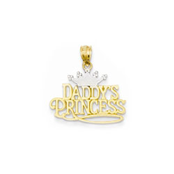 Daddy's Princess Pendant - 14K Yellow Gold and Rhodium - Chain Included/